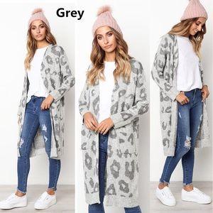 Sweaters - Leopard print long sweater Coat cardigan Gray